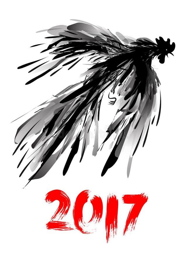 Hand dragen digital tupp i flykten Färgpulvermålning Hoppa hanen Illustration för Grungeklottervektor royaltyfri illustrationer