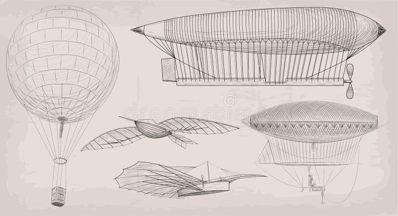 Hand dragen dirigibl för luftskepp för flygtransport för beståndsdelobjekttappning vektor illustrationer