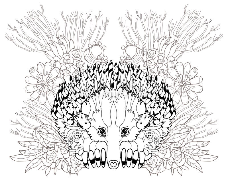 Hand dragen djur Echidna stock illustrationer