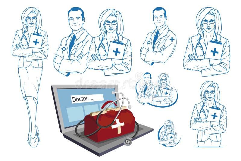 Hand dragen doktor Tecknad filmperson med paramedicinsk utbildningtecken Manipulera med stetoskopet Hälsovårdlapp Online-doktorsb royaltyfri illustrationer