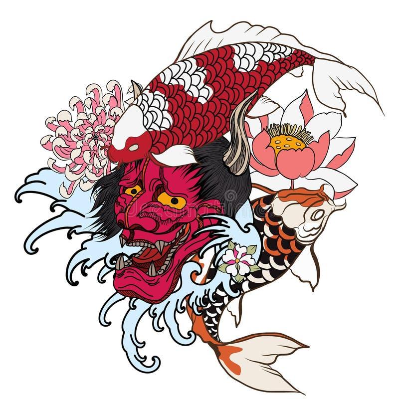 Hand dragen drake- och koifisk med blommatatueringen för armen, japansk karplinje bild för vektor för teckningsfärgläggningbok Dr stock illustrationer