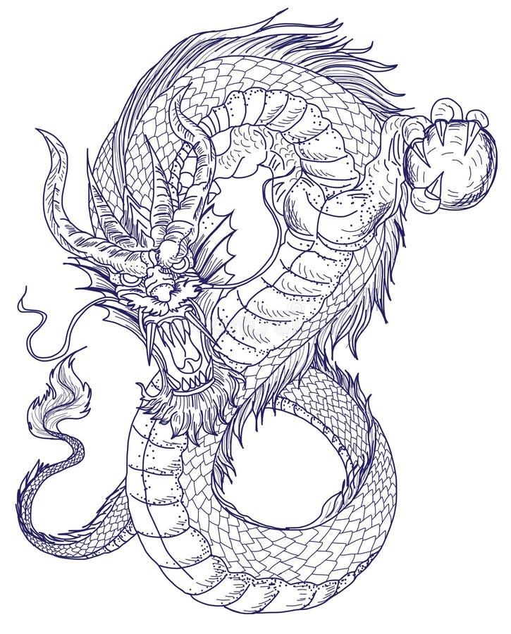 Hand dragen draketatuering, japansk stil för färgläggningbok stock illustrationer