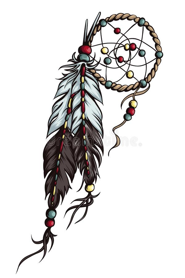 Hand dragen dreamcatcher royaltyfri illustrationer