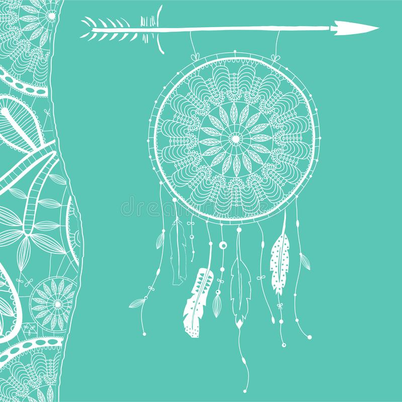 Hand dragen dreamcatcher med fjädrar och pilen Vektorhipsterillustration som isoleras på vit Etnisk design, boho royaltyfri illustrationer
