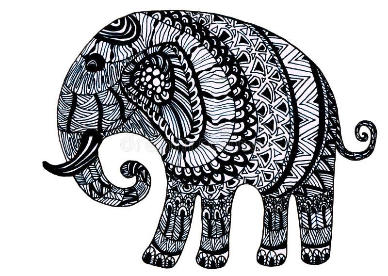 Hand dragen elefant vektor illustrationer