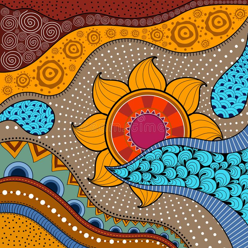Hand-dragen ethnomodell, stam- bakgrund Det kan användas för tapet, webbsida, påsar, tryck och andra Afrikansk stil vektor stock illustrationer