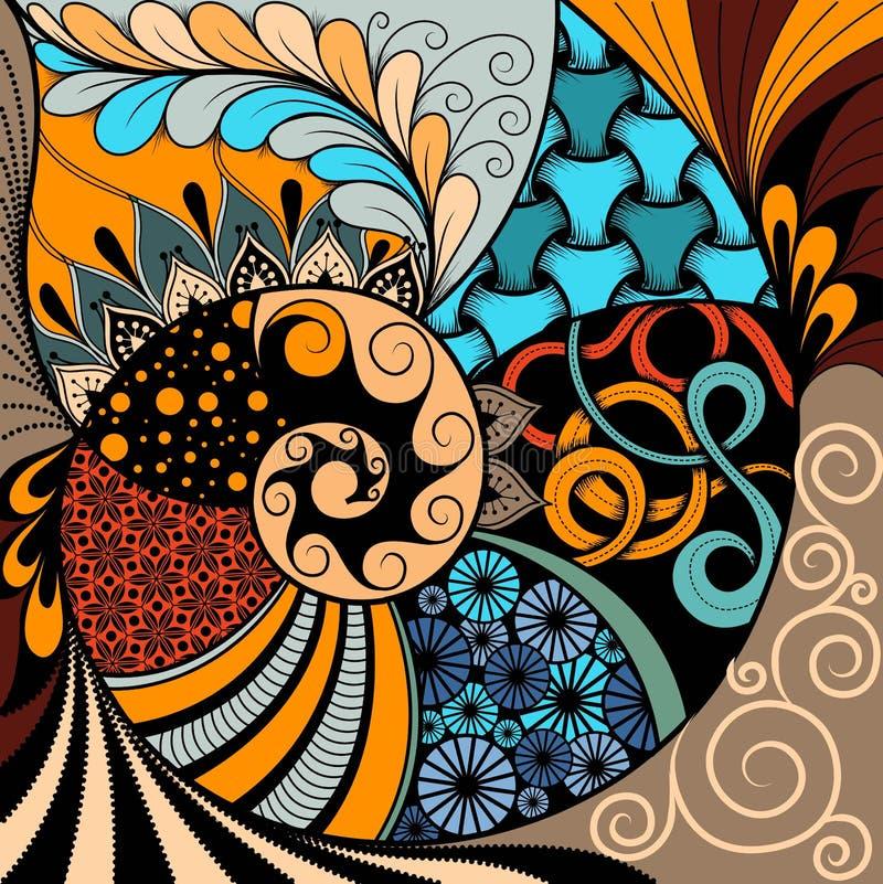 Hand-dragen ethnozentanglemodell, stam- bakgrund Det kan användas för tapet, webbsida, påsar, tryck och andra Afrikansk vagel stock illustrationer