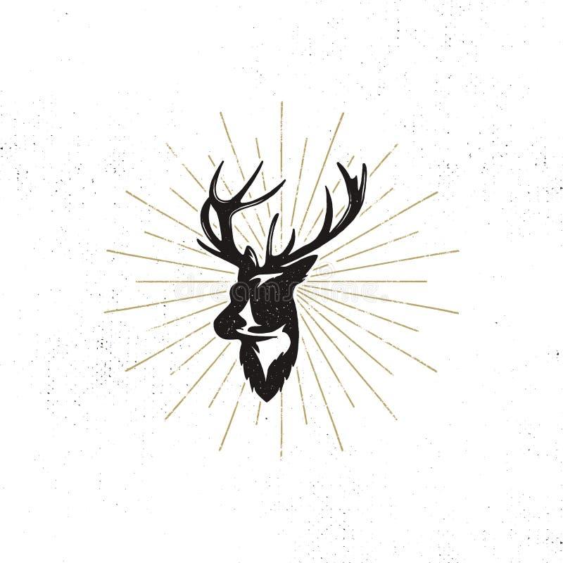 Hand dragen etikett för huvud för hjort` s Head den svarta vektorkonturn för tappning av hjortar med horn på kronhjort, sunbursts vektor illustrationer