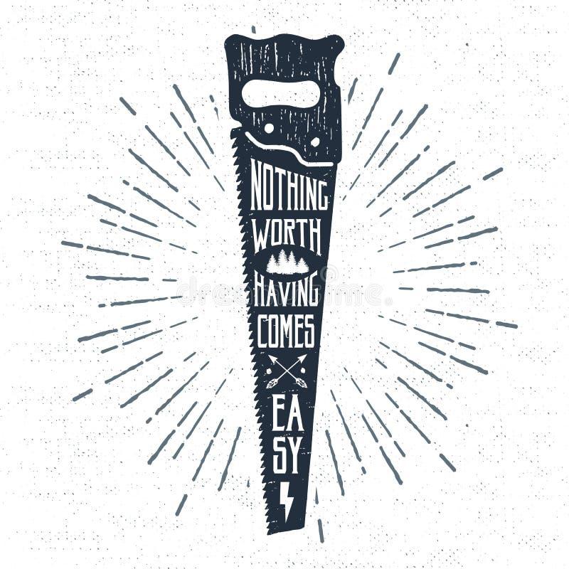 Hand dragen etikett med den texturerad sågvektorillustrationen och bokstäver royaltyfri illustrationer