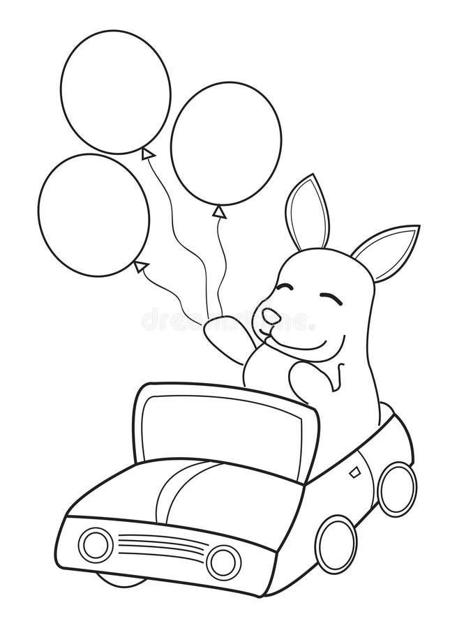 Hand dragen färgläggningsida av en kaninridning i en bil med ballonger vektor illustrationer