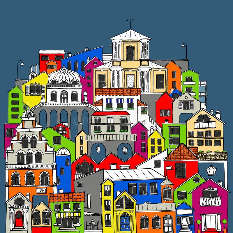 Hand dragen färgrik uppsättning av stadbyggnader Illustration av hus och gator vektor illustrationer