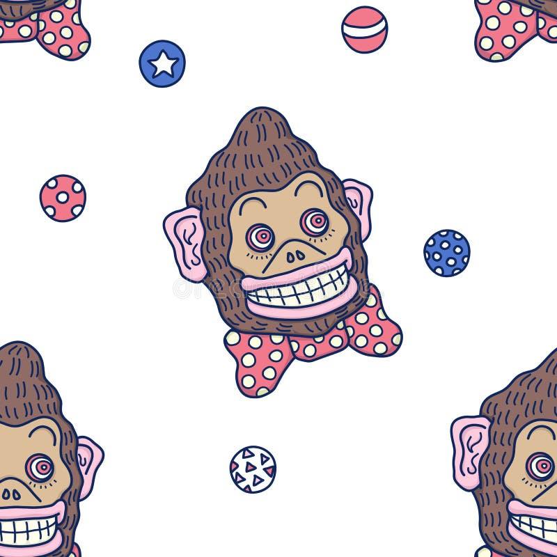 Hand dragen färgrik vektorbakgrundsillustration av att skaka den galna roliga bruna cirkusapan med röda band- och jogglerbollar stock illustrationer
