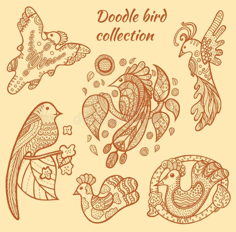 Hand dragen fågelsamling stock illustrationer