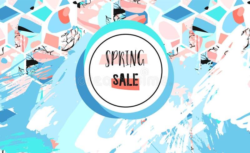 Hand dragen för teckningsvår för vektor abstrakt begrepp texturerad konstnärlig för Sale mall titelrad med sexhörningsformer och  stock illustrationer