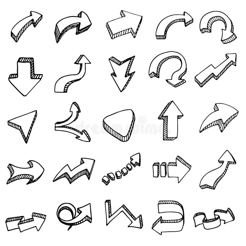 Hand dragen för uppsättningklotter för pilar 3D symbol Handen dragen svart skissar S stock illustrationer