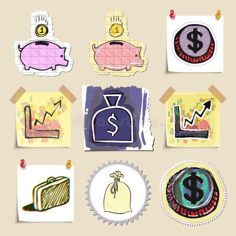 Hand dragen finansemblemuppsättning isolerat royaltyfri illustrationer