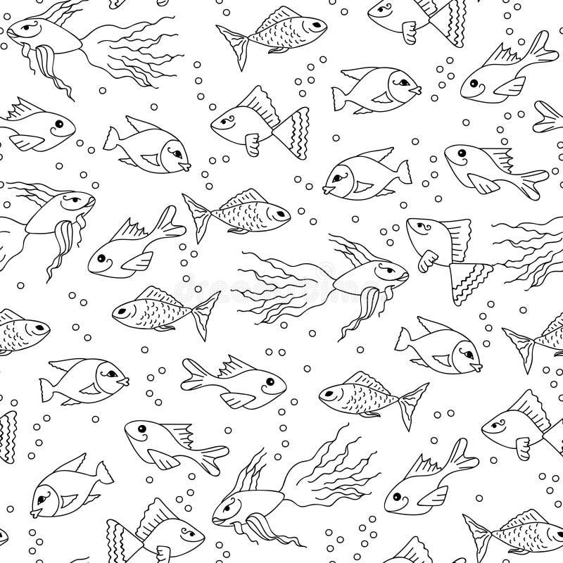 Hand dragen fisk i den sömlösa modellen för vatten för vuxen färgläggning stock illustrationer