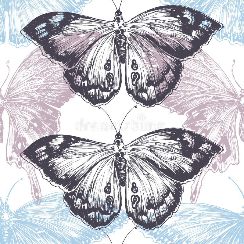 Hand dragen fjärilsbakgrund stock illustrationer
