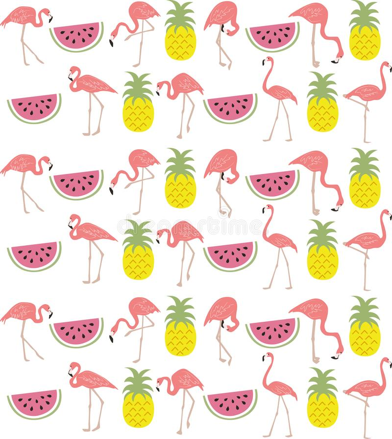 Hand dragen flamingo-, vattenmelon- & ananasrepetitionmodell stock illustrationer