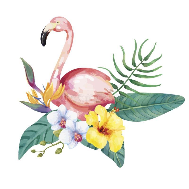 Hand dragen flamingofågel med tropiska blommor royaltyfri illustrationer
