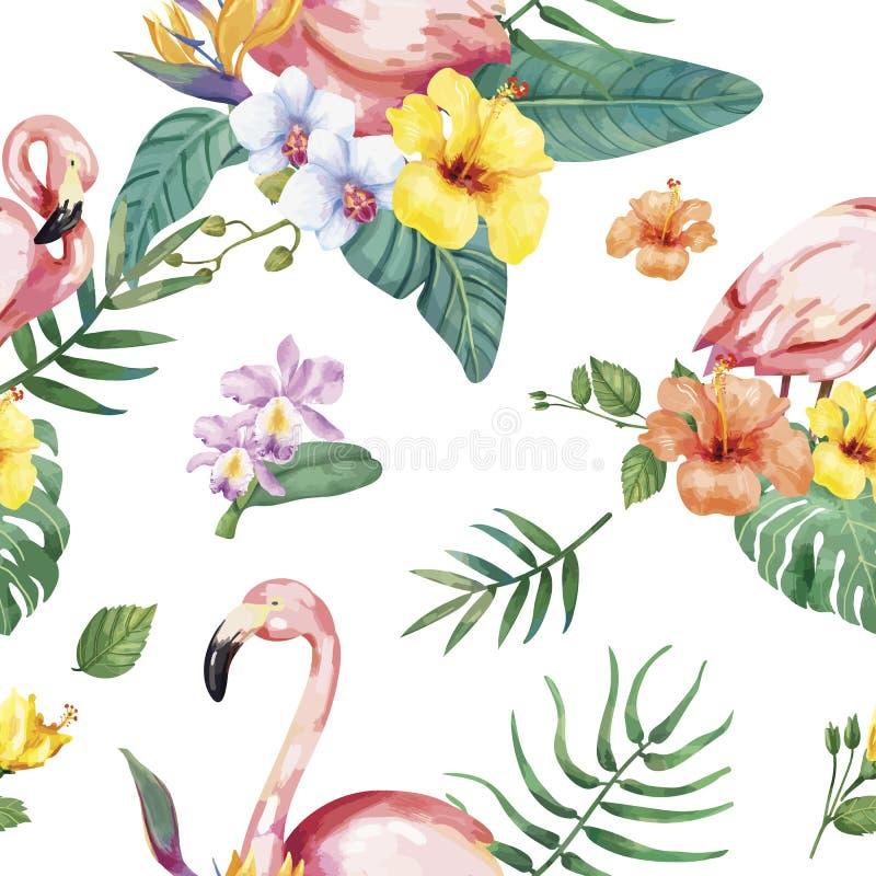 Hand dragen flamingofågel med tropiska blommor stock illustrationer