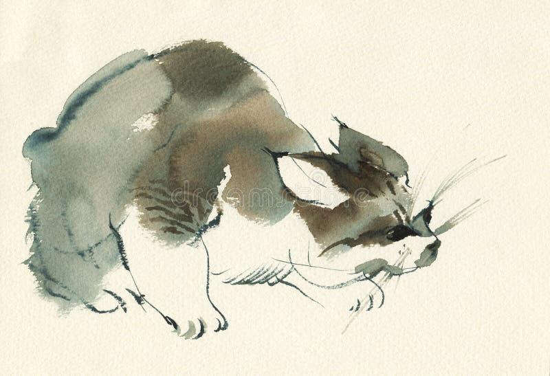 Hand dragen fluffig spela kattungestående Flammig strimmig kattkatt för vattenfärg Måla den älsklings- tappningillustrationen royaltyfri illustrationer