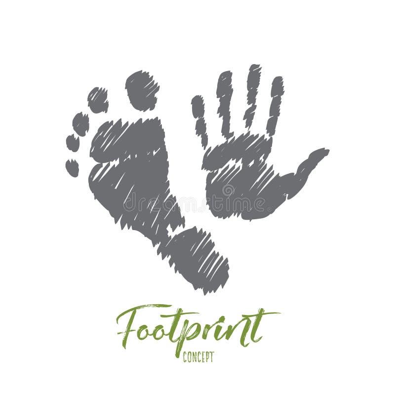 Hand dragen fotspår och handprint med bokstäver stock illustrationer