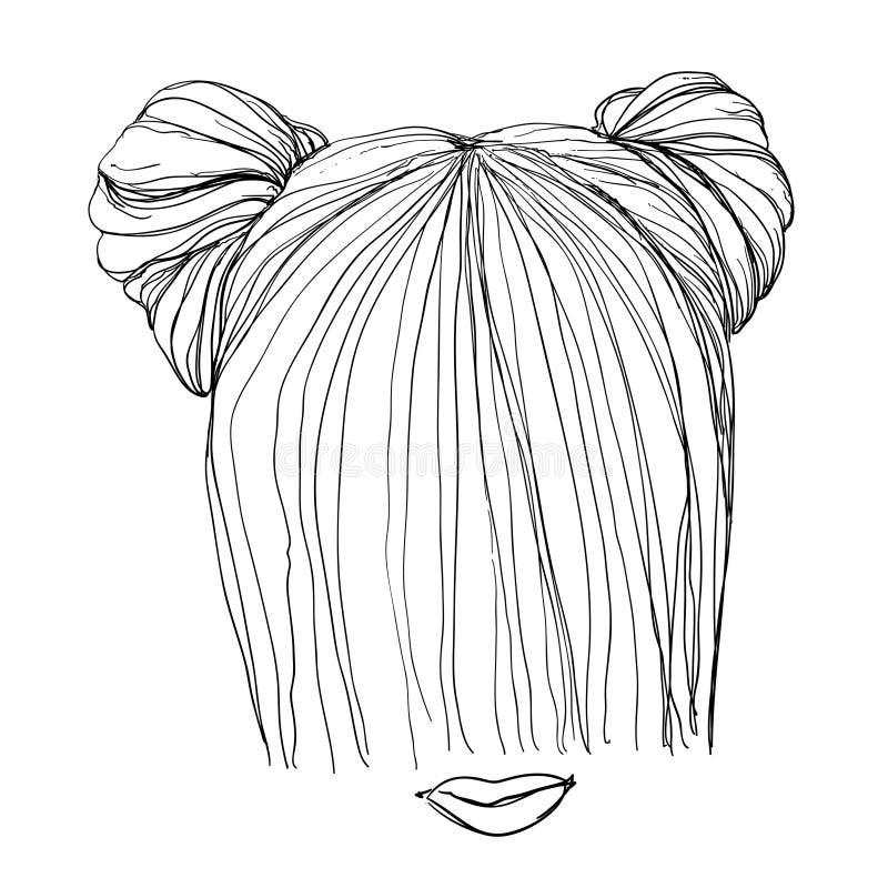 Hand dragen frisyr vektor illustrationer
