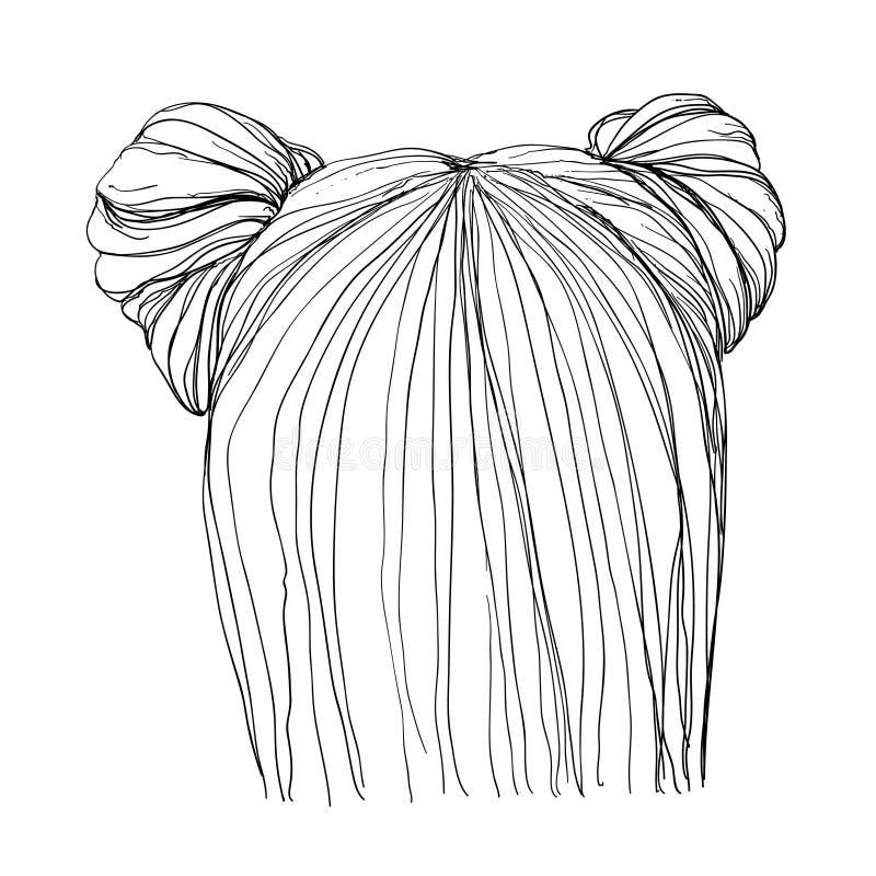 Hand dragen frisyr royaltyfri illustrationer