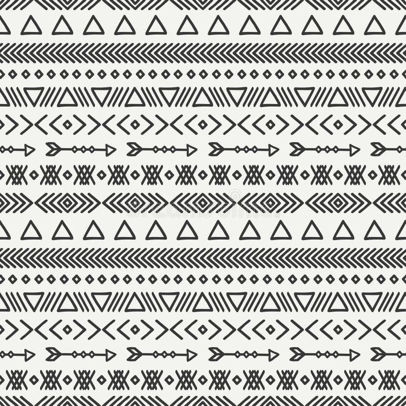 Hand dragen geometrisk etnisk sömlös modell stock illustrationer