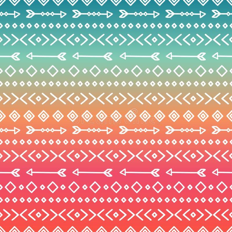 Hand dragen geometrisk etnisk stam- sömlös modell inpackning för vektor för tema för dryckillustrationpapper retro scrapbook Klot royaltyfri illustrationer
