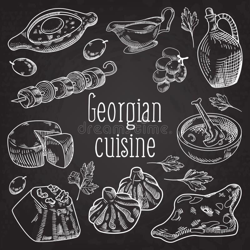 Hand dragen georgisk mat på den svart tavlan Georgia Traditional Cuisine royaltyfri illustrationer