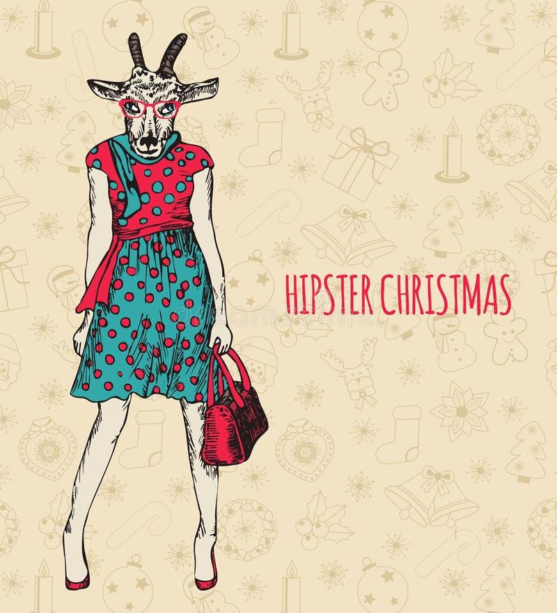 Hand dragen getkvinna Hälsa för Hipsterjul vektor illustrationer