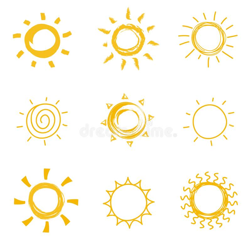Hand dragen glänsande solsamling Symboler för sol för klotter för sommarvärmevektor stock illustrationer