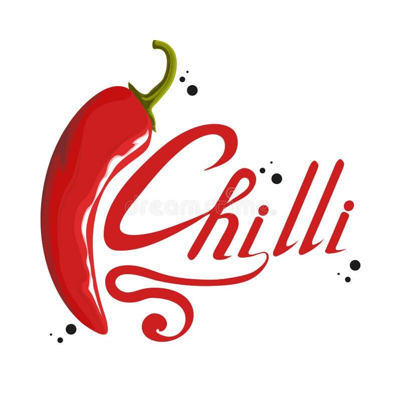 Hand dragen glödhet peppar kryddig ingrediens Chililogo Krydda varma Chili Pepper som isoleras på vit bakgrund sunt naturligt för stock illustrationer