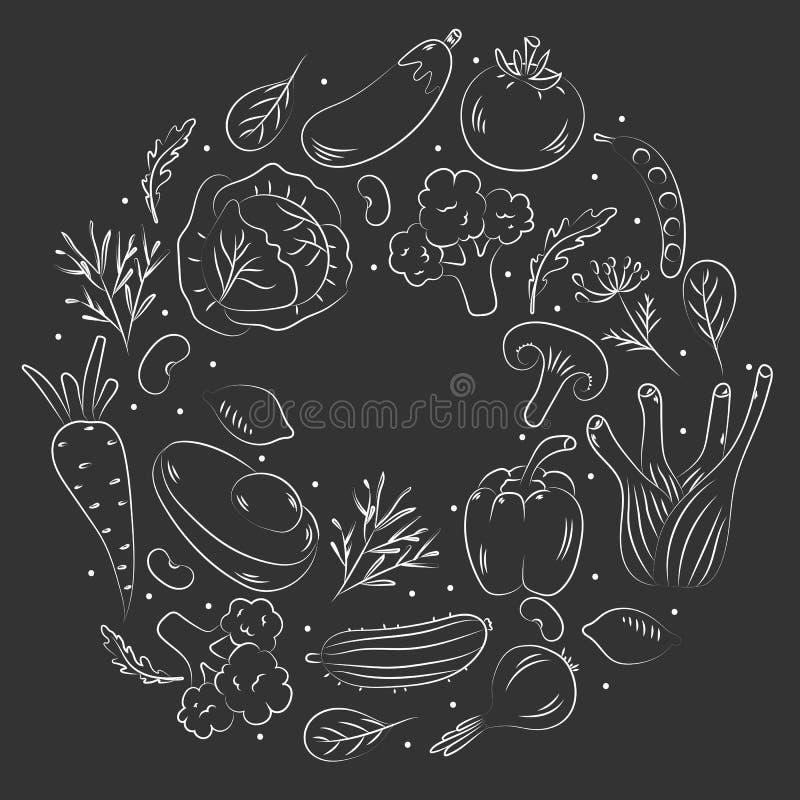 Hand dragen grönsakbakgrund Skissa stilvektoruppsättningen stock illustrationer