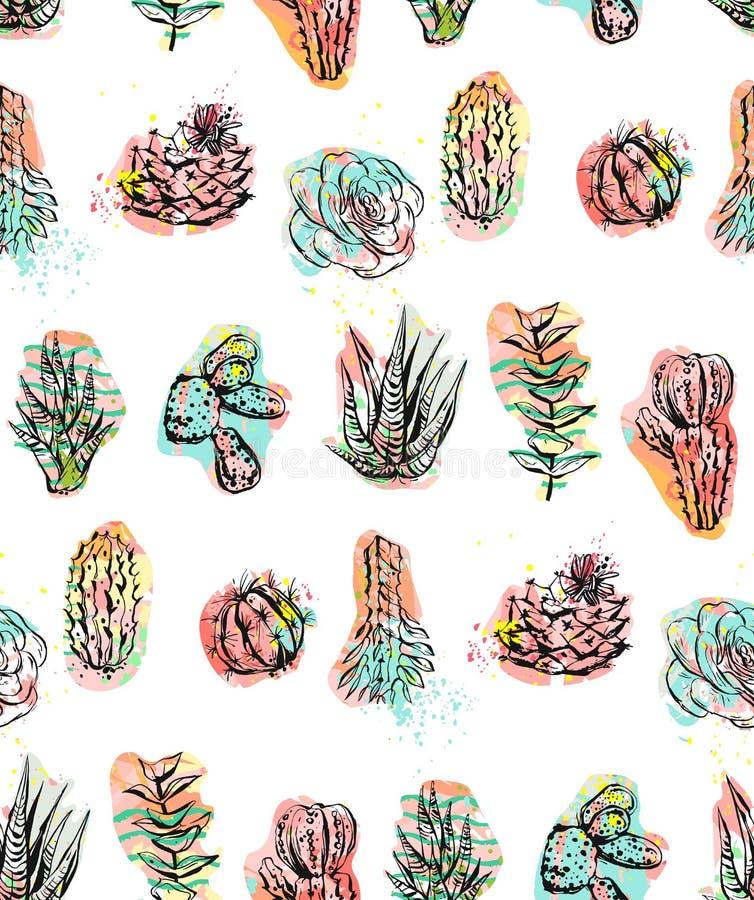Hand dragen grafisk idérik suckulent för vektorabstrakt begrepp, kaktus och sömlös modell för växter som isoleras på vit bakgrund vektor illustrationer