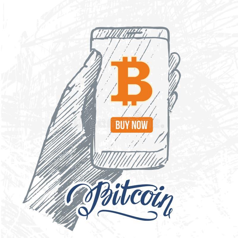 Hand dragen grej med bitcoinsymbol arkivbild