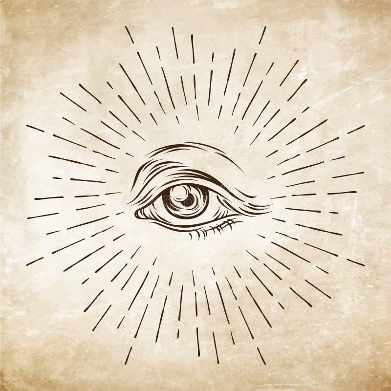 Hand-dragen grunge skissar ögat av försyn Frimurar- symbol allt se för öga ny beställningsvärld Konspirationsteori Alkemi religio royaltyfri illustrationer
