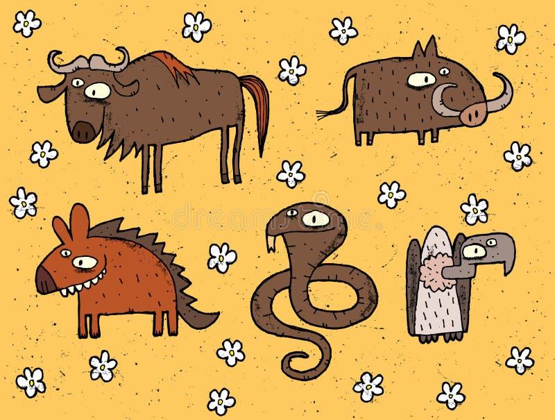 Hand dragen grungeillustrationuppsättning av gnu, vårtsvin, hyena, cobr royaltyfri illustrationer