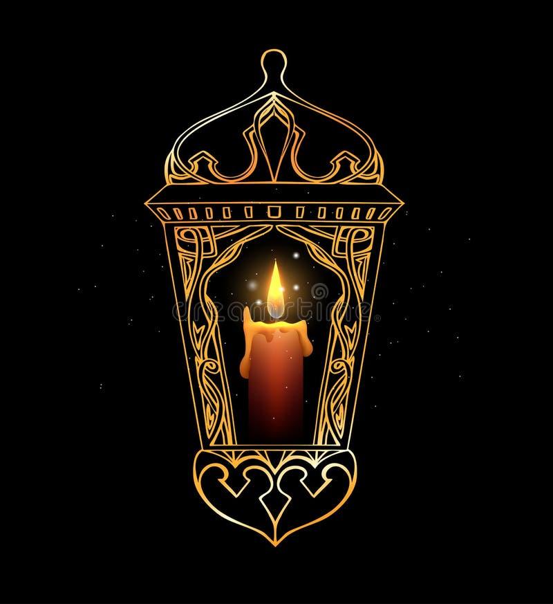 Hand-dragen guld- arabisk lykta med en stearinljus royaltyfri illustrationer