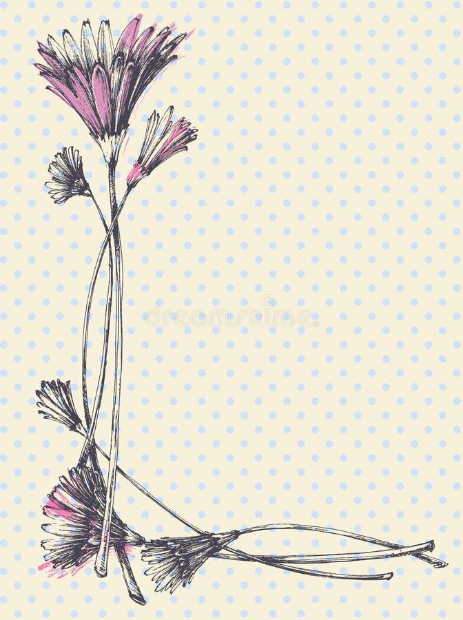 Hand dragen gullig blom- ram royaltyfri illustrationer