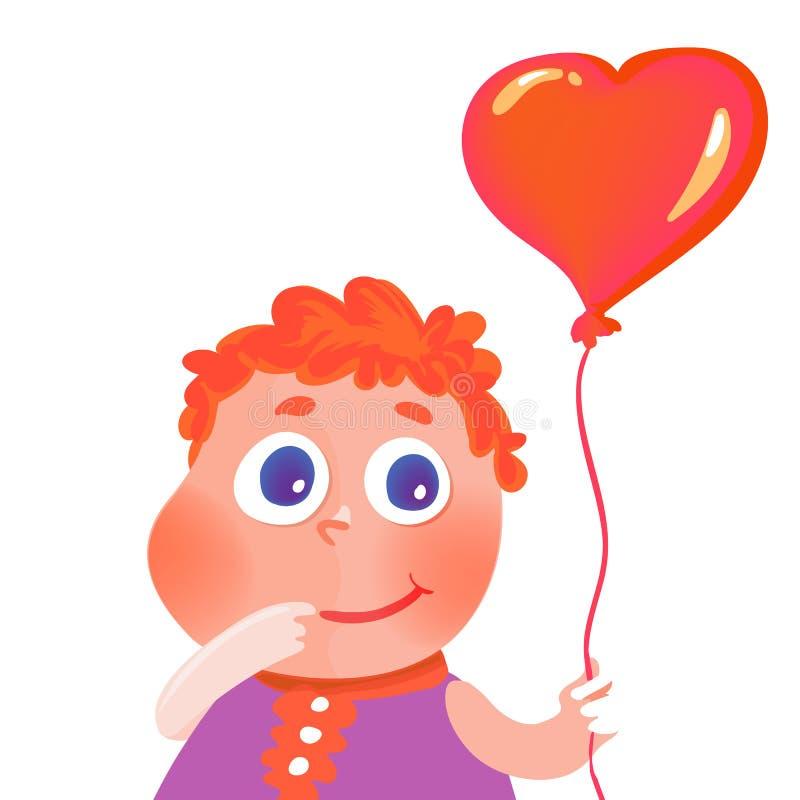 hand dragen gullig flicka med hjärtaballongen royaltyfri illustrationer