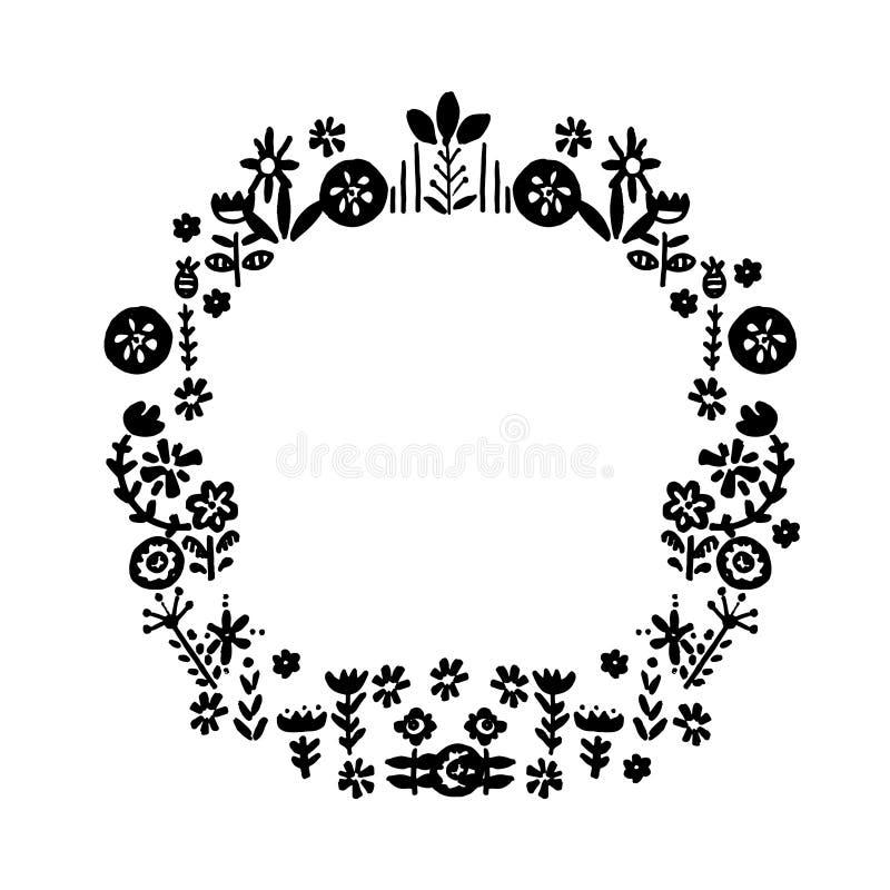 Hand dragen gullig vektorkrans Blom- beståndsdelar för enkelt klotter Sc stock illustrationer