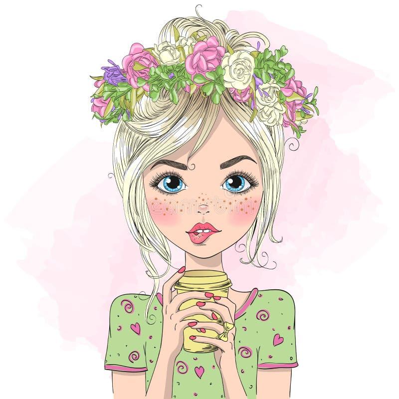 Hand dragen härlig gullig sommarflicka med drinken i henne händer vektor illustrationer