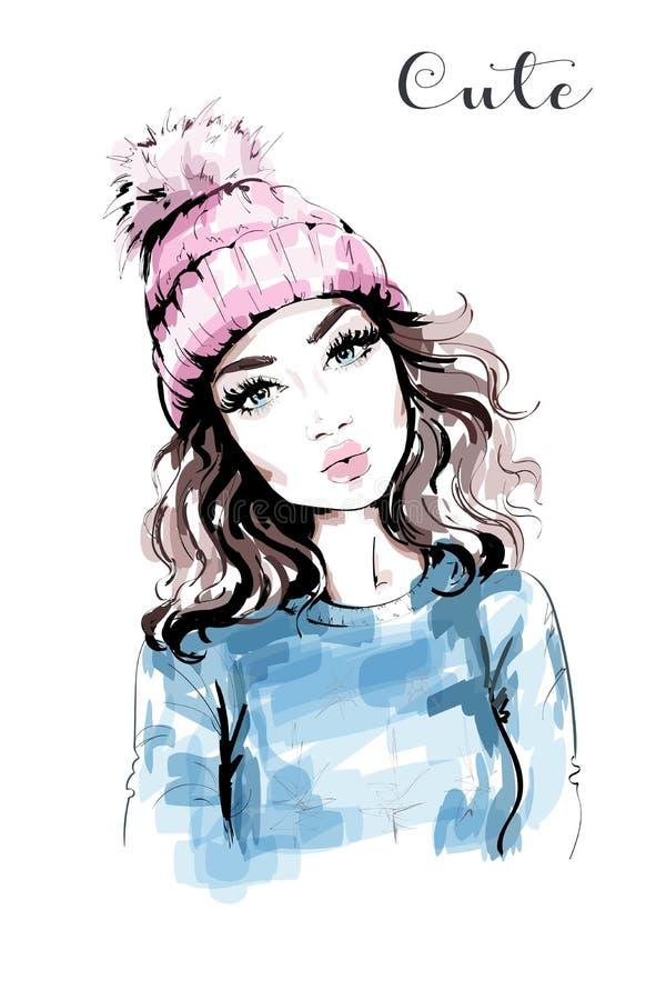 Hand dragen härlig kvinnastående Modekvinna i stucken hatt med pompomen Stilfull look fashion flickan royaltyfri illustrationer