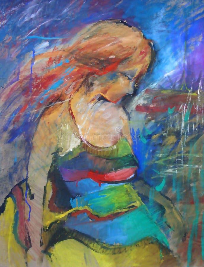 Hand dragen härlig stående för ung kvinna fashion kvinnan gullig blommaflicka målning arkivbilder