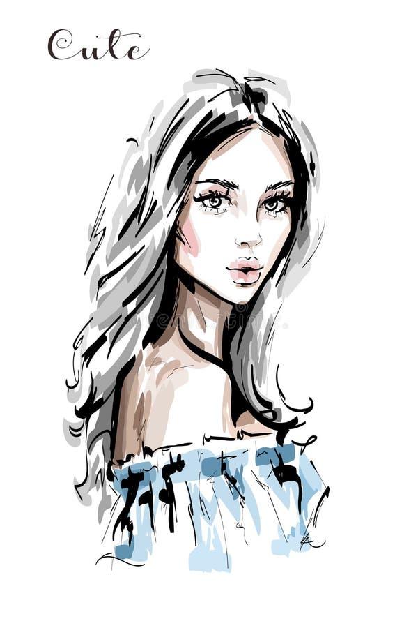 Hand dragen härlig stående för ung kvinna Stilfull elegant flicka Modekvinnaframsida royaltyfri illustrationer