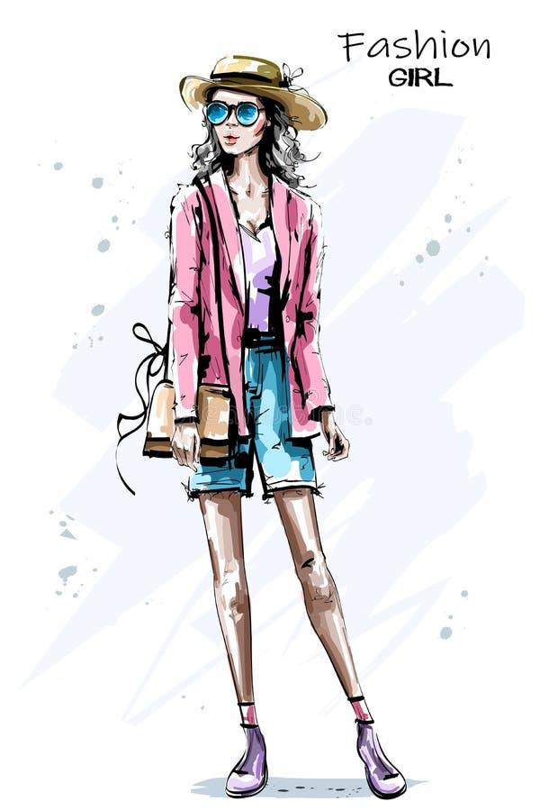 Hand dragen härlig ung kvinna i hatt Stilfull elegant flickadräkt Modekvinnablick skissa också vektor för coreldrawillustration royaltyfri illustrationer