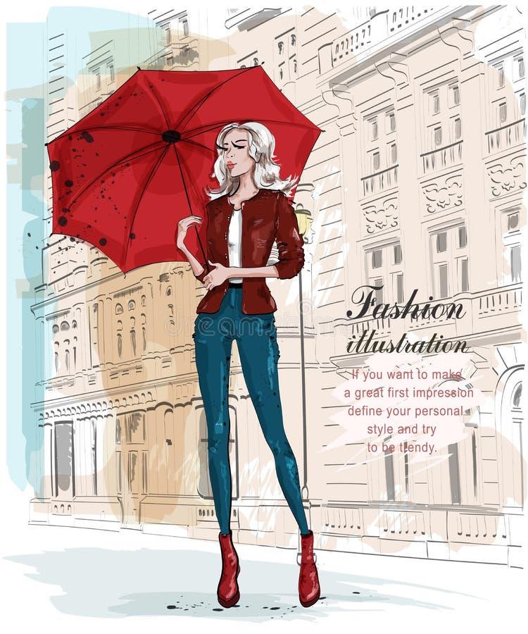 Hand dragen härlig ung kvinna med paraplyet Modekvinna med arkitektonisk bakgrund Stilfull flicka i modekläder vektor illustrationer